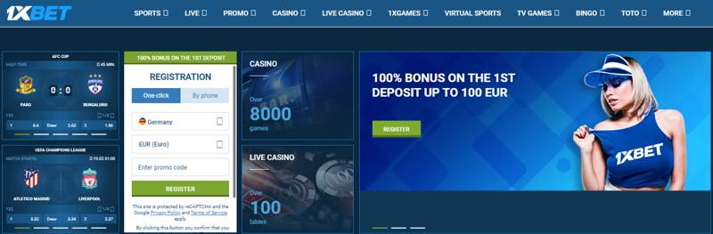 1xbet homepage