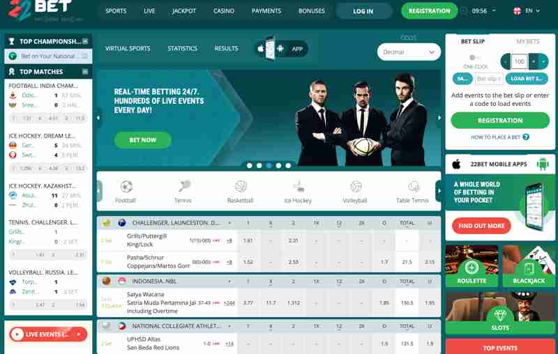 22Bet - real-time betting. Hundreds of live events every day